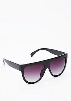 Glossy Straight Brow Sunglasses