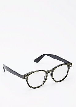 Green Leopard Print Glasses