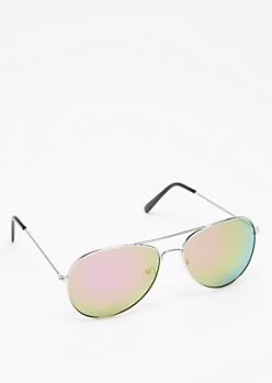 Fuchsia Mirror Lens Aviators