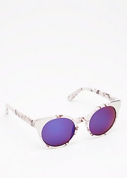 Marbled Metal Capped Sunglasses