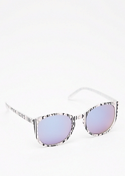 Aztec Keyhole Mirrored Sunglasses