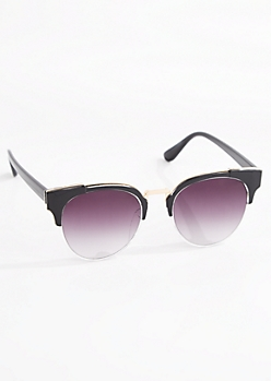 Rounded Half-Frame Retro Sunglasses