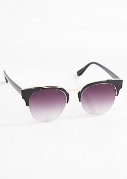 Rounded Half-Frame Retro Sunglasses