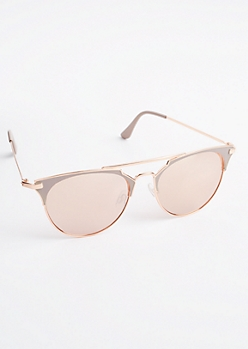 Rose Gold Half Frame Sunglasses
