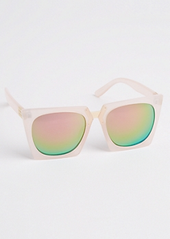 Matte Pink Squared Sunglasses
