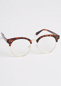 Tortoiseshell Half Frame Round Glasses