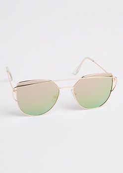 Rose Gold Geo Brow Bar Aviators