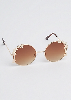 Golden Floral Round Sunglasses
