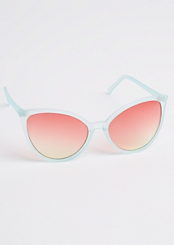 Light Blue Mirrored Cat Eye Sunglasses