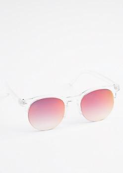 Iridescent Half Frame Sunglasses