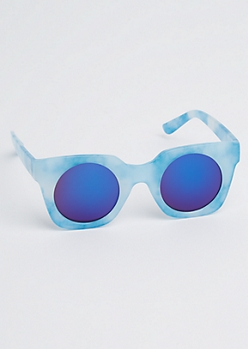 Blue Marled Square Sunglasses