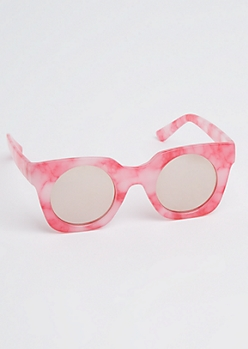 Pink Marled Square Sunglasses