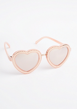 Metallic Heart Mirrored Sunglasses