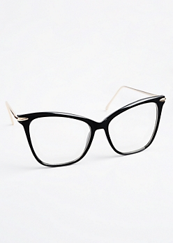 Glossy Black Squared Glasses