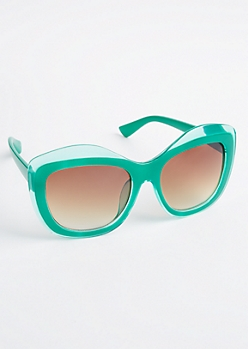 Green Oversized Wavy Sunglasses