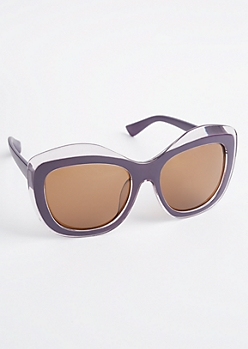 Purple Oversized Wavy Sunglasses