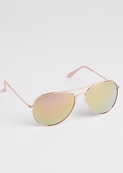 Rose Gold Metallic Mirrored Aviators