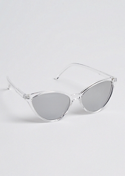 Clear Cat Eye Mirrored Sunglasses