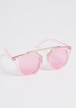 Glossy Pink Browbar Sunglasses