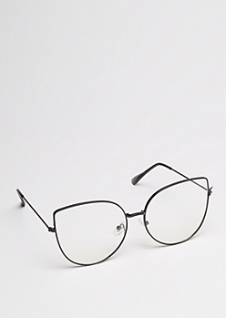 Black Oversized Cat Eye Glasses