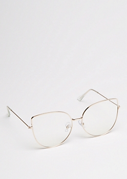Gold Oversized Cat Eye Glasses