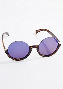 Tortoise Round Half Frame Sunglasses