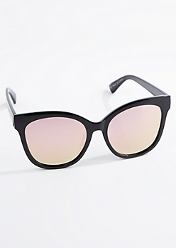 Black Oversized Mirror Lens Cat Eye Sunglasses