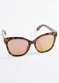 Tortoise Oversized Mirror Lens Cat Eye Sunglasses