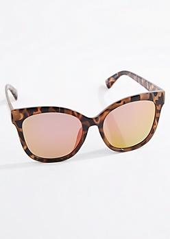 Tortoise Oversized Mirror Lens Cat Eye Sunglasses