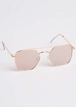 Rose Gold Squared Geo Aviators