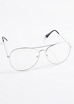 Silver Metallic Wireframe Aviator Readers