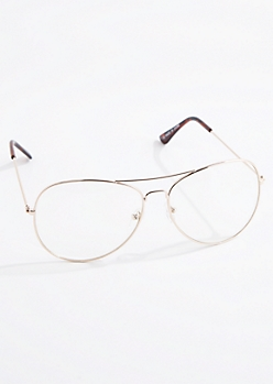 Gold Metallic Wireframe Aviator Readers