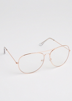 Rose Gold Framed Aviator Glasses