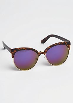 Tortoiseshell Purple Half-Frame Sunglasses