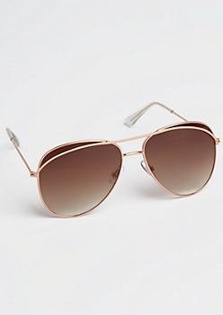 Golden Curved Brow Bar Aviators