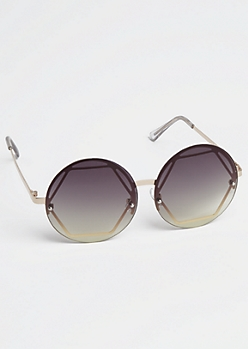 Rounded Octagon Frame Sunglasses