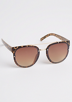 Leopard Print Brow Bar Sunglasses