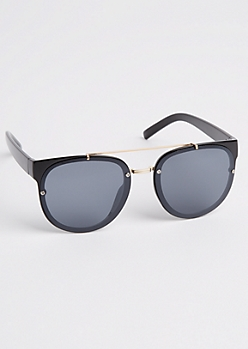 Glossy Black Brow Bar Sunglasses