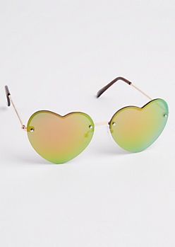 Rainbow Heart Mirror Lens Sunglasses