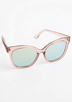 Pink Translucent Mirrored Sunglasses