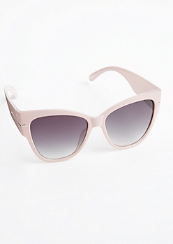 Pink Metallic Oversized Cat Eye Sunglasses