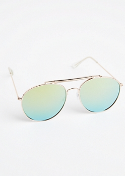 Golden Double Browbar Aviators