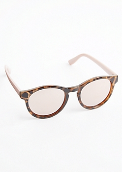 Pink Leopard Round Sunglasses