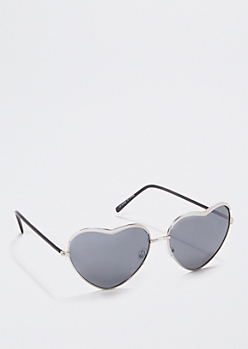 Metallic Silver Heart Sunglasses
