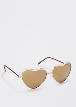 Metallic Gold Heart Sunglasses