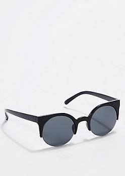 Black Round Half Frame Sunglasses