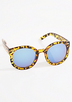 Leopard Rounded Sunglasses