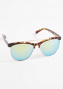 Tortoiseshell Browbar Half-Frame Sunglasses
