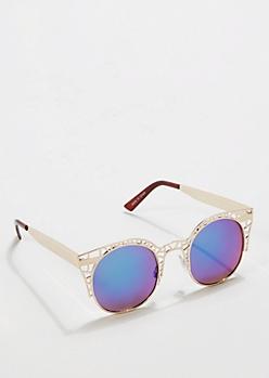 Openwork Rounded Mirror Sunglasses