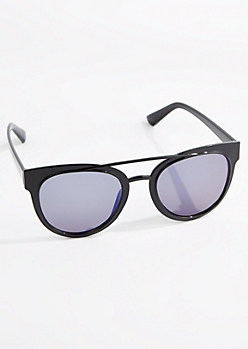 Black Browbar Retro Glossy Sunglasses